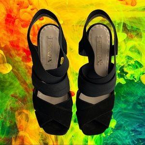 Prada Thick Strappy Black Suede Heels